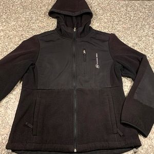 Free Country black fleece with hood size small GUC